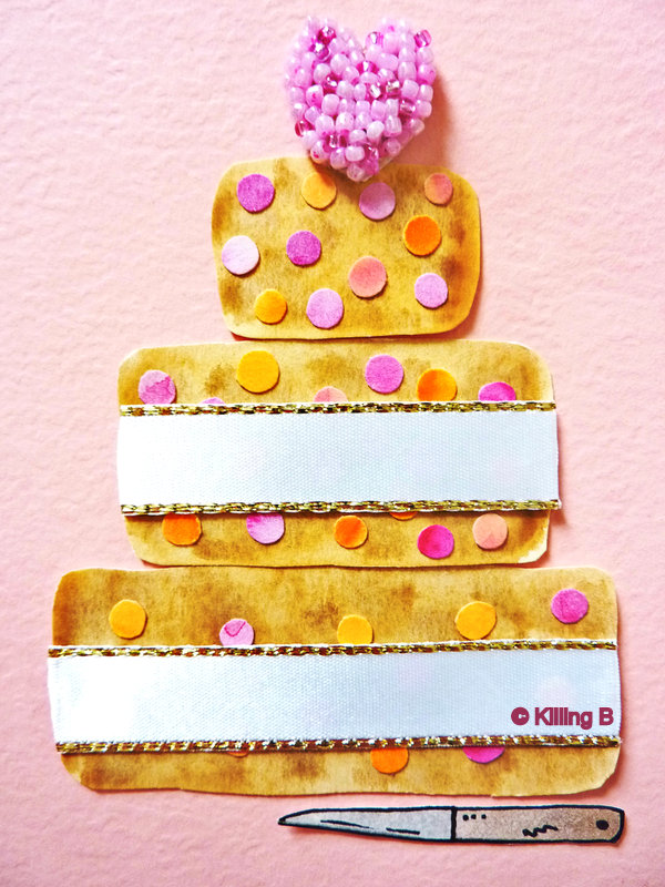 Three-Tiered Cake with White Ribbon