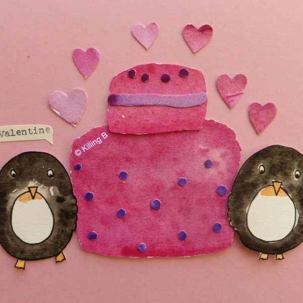 Penguins with Pink Cake