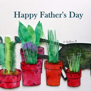 Wheelbarrow & Pots of Plants - Happy Father's Day