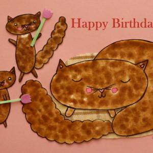 Cat and Kittens - Happy Birthday