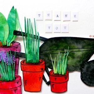 'Thank You' Wheelbarrow & Pots of Plants