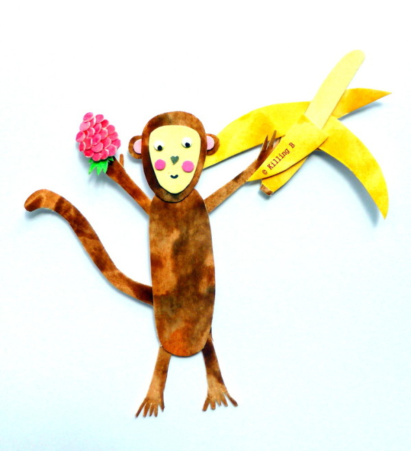 Monkey with a Raspberry and a Banana