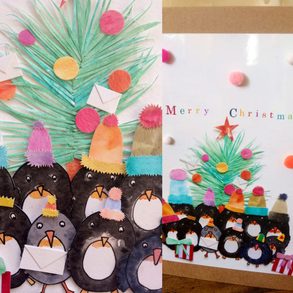 Tree Penguins - Pom Pom Card
