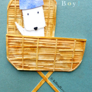 Boy in Crib - White Dog