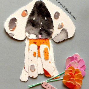 Big-Eared Dotty Dog with Orange and Pink Flowers'For You'