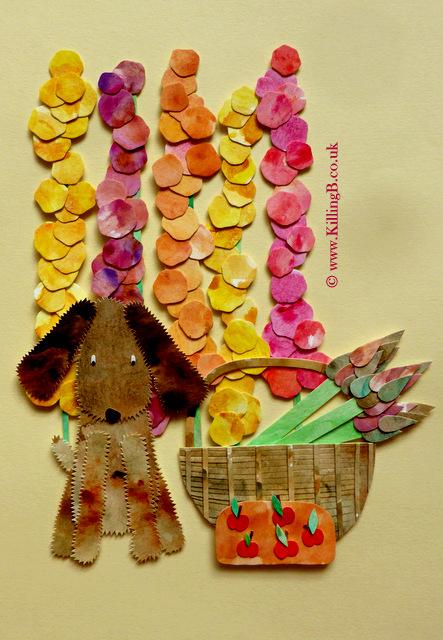 Brown Dog, Hollyhocks and Garden Basket