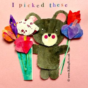 Little Grey Bear with Fresh Flowers