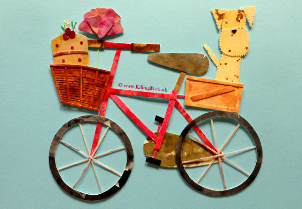 Red Bicycle, Speckled Dog, Cherry Cake and Flower