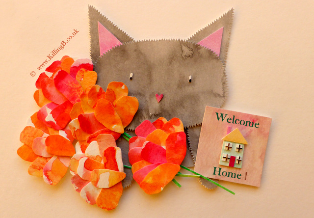 Grey Cat with Large Bouquet