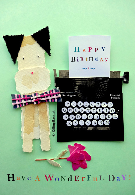 Terrier and Birthday Typewriter