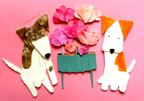 Jack Russell Terrier, Wire Fox Terrier and Peonies
