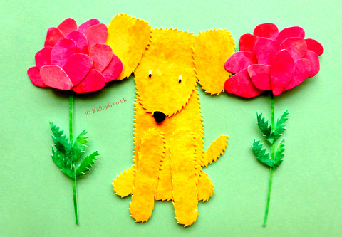 Little Yellow Dog Between Two Roses