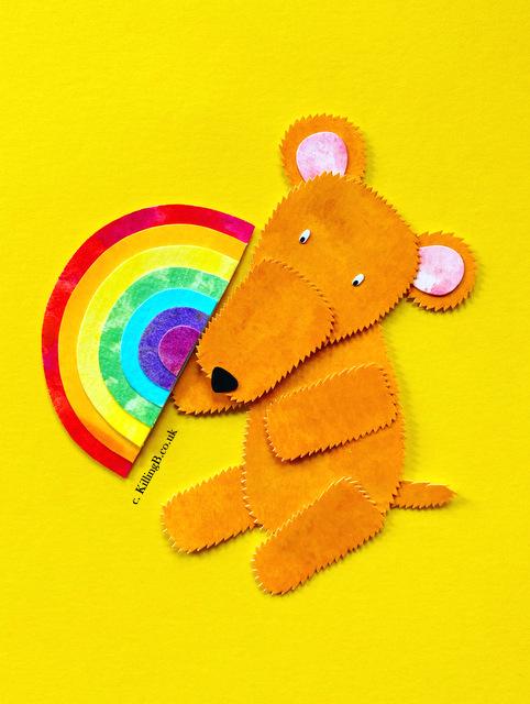 Teddy with Rainbow Fan
