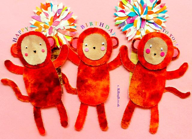 Three Birthday Monkeys